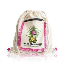 Vászon hátizsák flamingóval