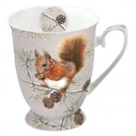 Porcelán bögre téli mókus