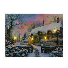 LED-es falikép, havas ház