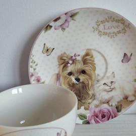 Porcelán teáscsésze állatkás