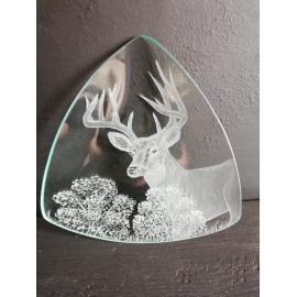 Üveg kínáló tálka szarvas