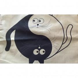 Vászon párnahuzat macskákkal